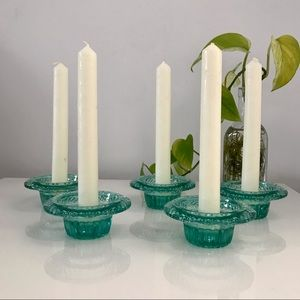 5pc Vintage blue/green Glass Candle Holders